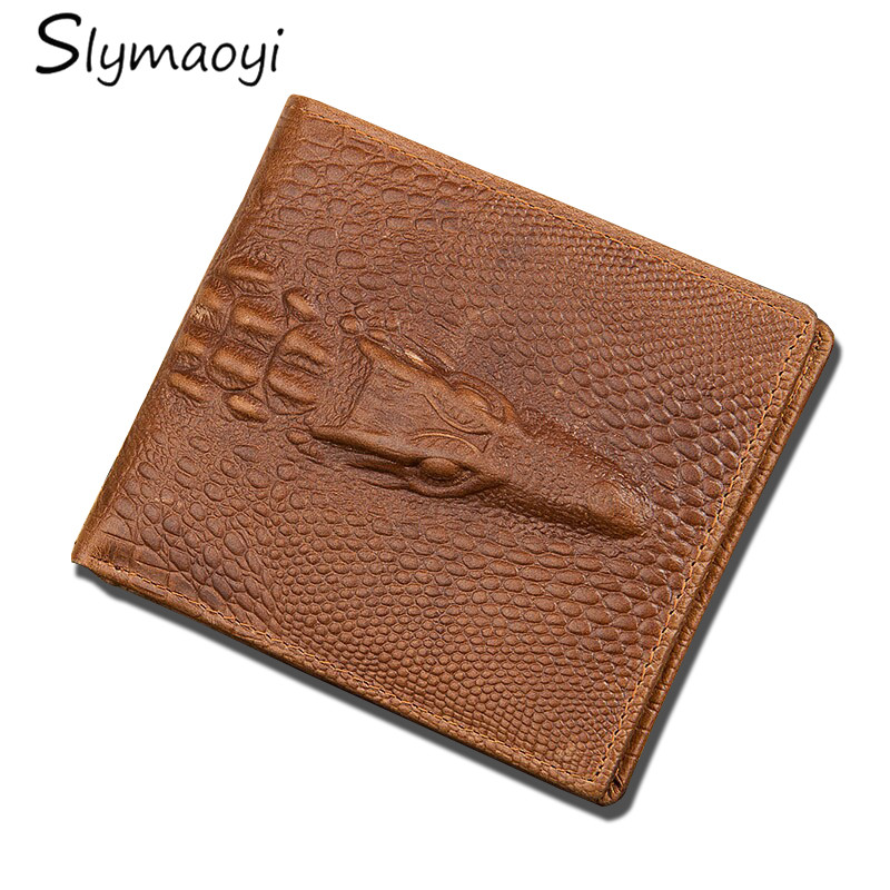 Genuine Leather Men Wallet Crocodile Style Wallet with Zipper Pocket High Quality Men Wallets Purse Male Clutch Small Money Bag new collection men long design wallet genuine leather male high quality luxury crocodile skin wallet handmade wallets