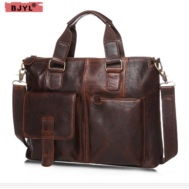 BJYL 2018 Genuine Leather men shoulder Bag business fashion men briefcase retro Male handbag 15 Laptop Messenger crossbody Bag jacodel business large crossbody 15 6 inch laptop briefcase for men handbag for notebook 15 laptop bag shoulder bag for student