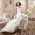 Новые Поступления Бисером Кружевные Аппликации Высокий Низкий Суд Поезд Свадебные Платья Beach Garden Свадебное Платье Vestidos De Novia CGT199