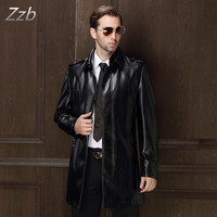 Leder Jacke neuesten plus größe schlank schwarz kaffee leder trenchcoat für herren einreiher mäntel UK mann outwear