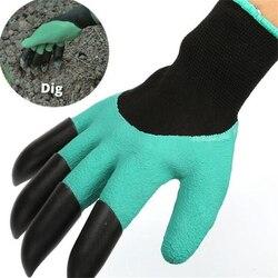 5Pairs darmowa wysyłka ogrodowe genie rękawice z 4 ABS plastikowe pazury ogrodnictwo rękawice robocze do kopania sadzenia rękawiczki hurtownia w Rękawice do użytku domowego od Dom i ogród na