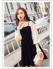 2019 New Arrival Women Casual Party Dress Beige Puff Sleeve Mini Dresses High Neck Spaghetti A-line