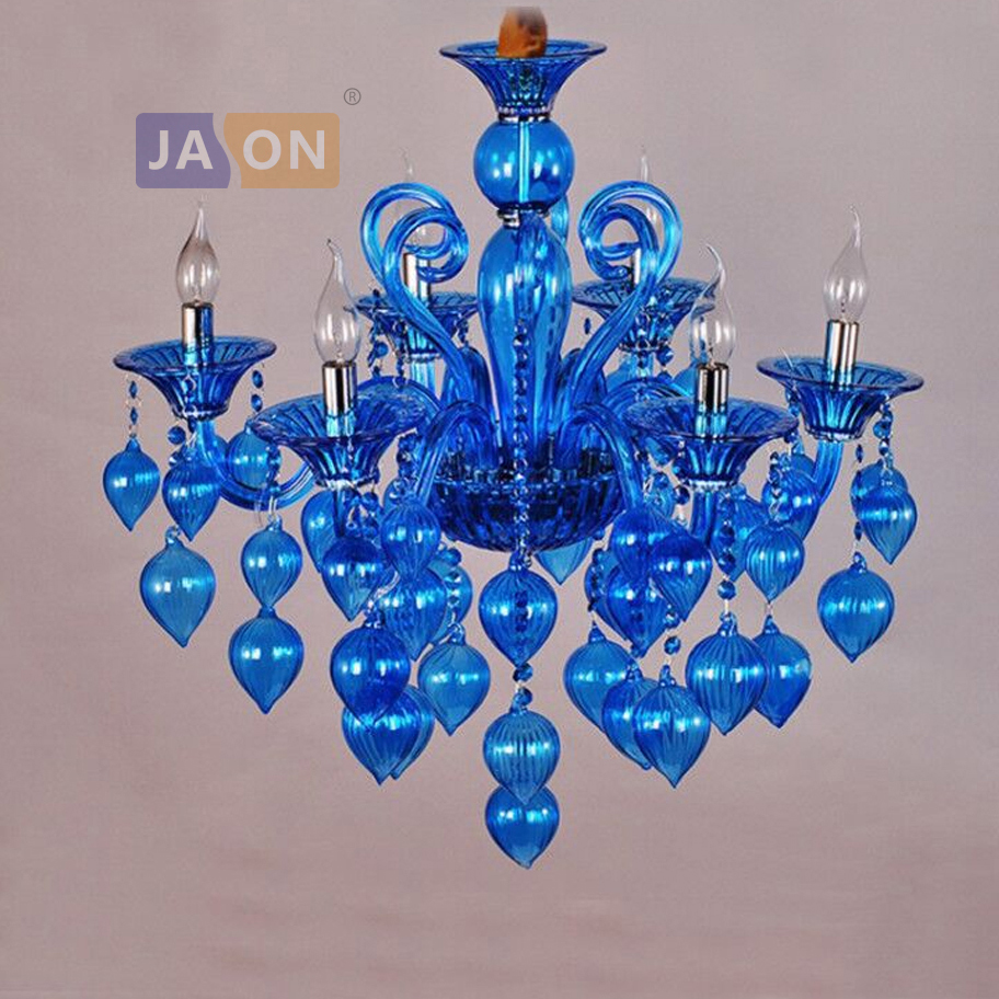 led e14 European Iron Glass Red Purple Blue Chandelier Lighting Lamparas De Techo Suspension Luminaire Lampen For Foyer Bedroom