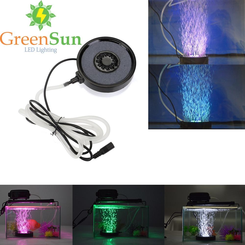 RGB 12LED Aquarium Round <font><b>light</b></font> Spotlights Garden Pond Pool Increase Oxygen Fish Tank Air Stone Bubble <font><b>Light</b></font> EU UK US Plug