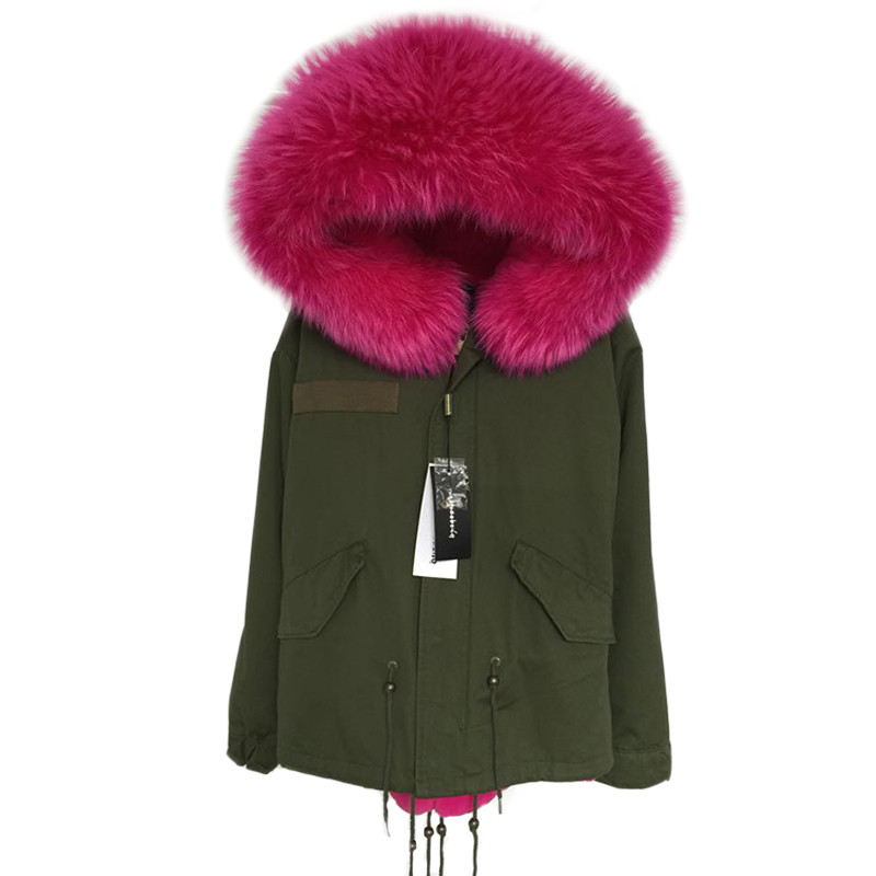 AIGYPTOS XGZ New Women Winter Army Green Jacket Coats Thick Warm Parkas Plus Size Real Raccoon Fur Collar Hooded Outwear