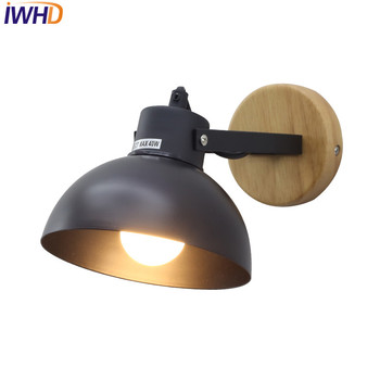 IWHD Simple Fashion Modern Wall Sconce Iron Wood LED Wall Light Fixtures For Aisle Home Indoor Lighting Bedside Wall Lamp