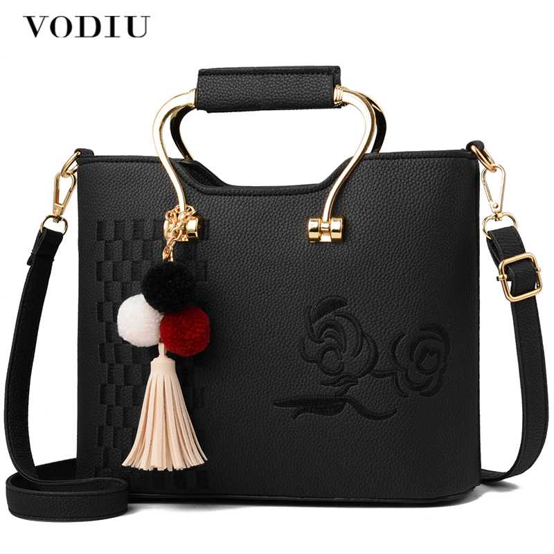 Для женщин сумки кожаные Сумки сумка женская Для женщин Crossbody Сумочка кисточкой кулон цветок Embroideried металлической ручкой сумки