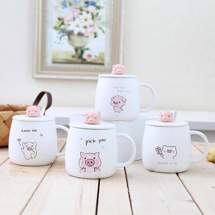 400ml bonito rosa porco cerâmica caneca de café venda quente 3d porco pintados à mão copo água e caneca presente aniversário