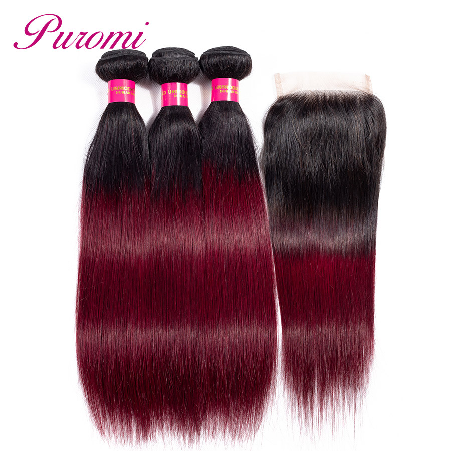 Puromi Brazilian Straight Hair Bundles with Closure Ombre 1b 99j Non remy 3 Bundles and Closure