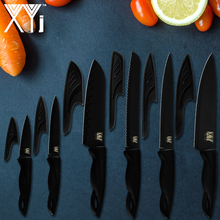 XYj Chef Knife Set 6-Piece Stainless Steel Kitchen Knives Meat Vegetable Bread Slicer Cutter Professional Japanese Cooking