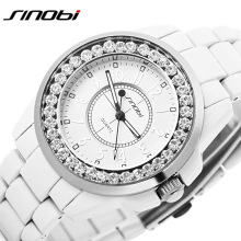 2016 New Sinobi luxury Dress Brand Fashion Watch Woman Ladies Gold Diamond relogio feminino Dress Clock female relojes mujer