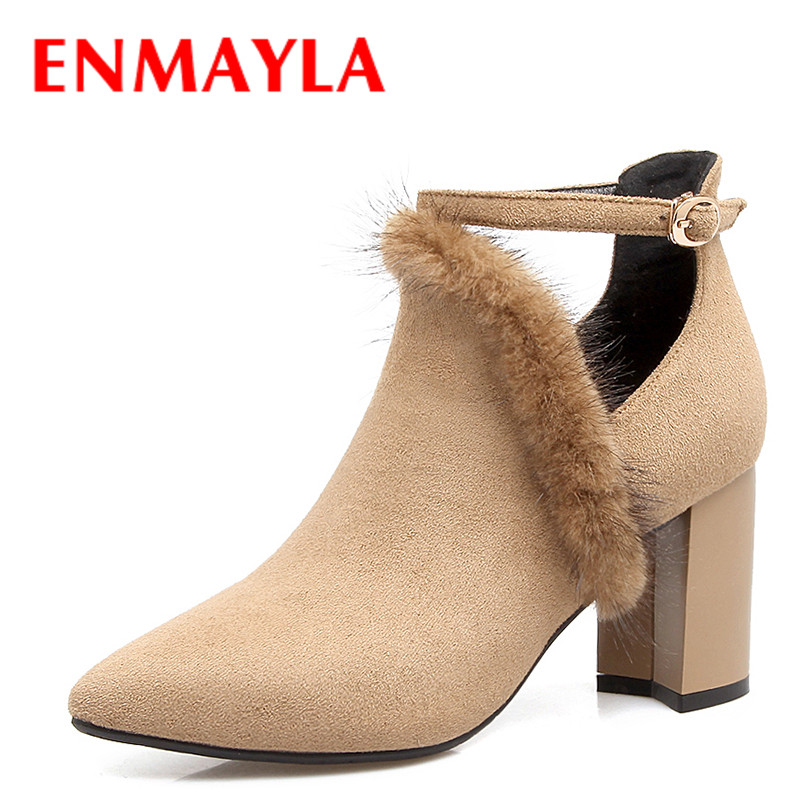 ENMAYLA Autumn Womens Strappy High Heels OL Shoes Woman Pointed Toe Shallow Flock Ankle Boots for Women Fur BootsENMAYLA Autumn Womens Strappy High Heels OL Shoes Woman Pointed Toe Shallow Flock Ankle Boots for Women Fur Boots