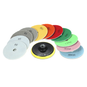 "Image 3 - 11pcs 4"" abrasive tools Diamond Wet Polishing Pads sanding Grinding Disc accessories+ 1pc Backing Pad for Marble Stone"