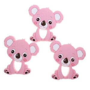 Image 3 - Großhandel Waschbären Silikon Koala Baby Beißring 10pc BPA FREI Neugeborenen Zahnen Halskette Dusche Geschenk Cartoon Tier Anhänger DIY Eule