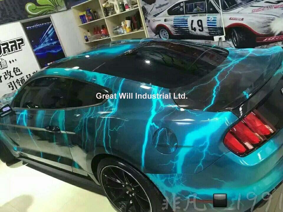 Синяя вспышка Стиль Юнион автомобиля обертывание с воздухом Rlease специальный дизайн камуфляжное покрытие автомобиля наклейки фольга Размер 1,52x30 м/рулон