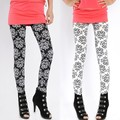 Autumn Women Elastic Printing Leggings Pencil Pants Stretch Skinny Leggings Black/White High Quality