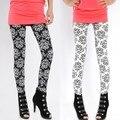 Otoño de Las Mujeres Elásticos de Impresión Leggings Pantalones Lápiz Estiramiento Flaco Leggings Negro/Blanco de Alta Calidad