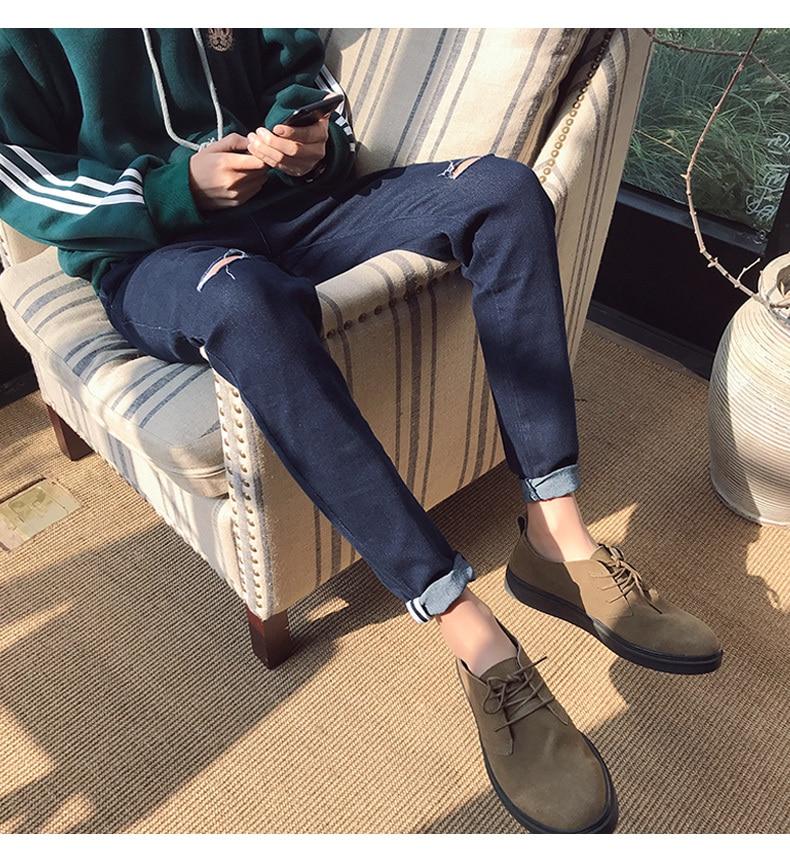 online cheap 2018 spring men s wear jeans knee holes bound feet