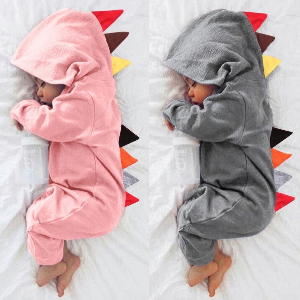 Newborn Baby Boy Girl Cotton Dinosaur Hooded Zip Romper Jumpsuit Playsuit Outfit