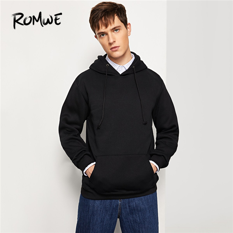 romwe men black solid hooded sweatshirt mankind autumn