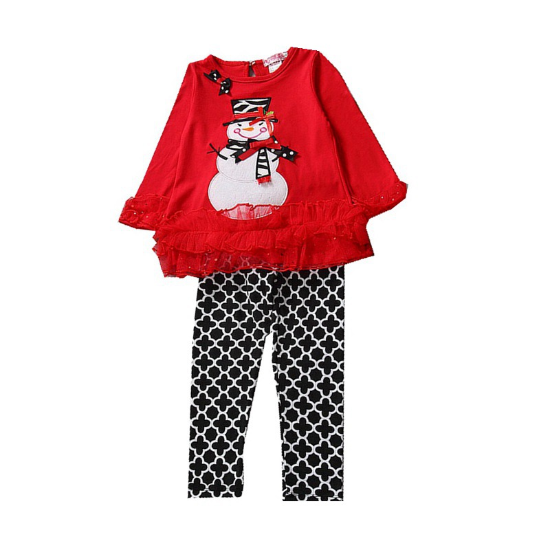 Snowman T-shirts Pants Kids Christmas Pajamas Toddler Girls Clothing Sets Childrens Christmas Suits Baby Girl Christmas Outfit