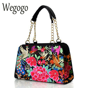 Women Handbag Retro Canvas Phoenix Floral Embroidery Shoulder Messenger Bags