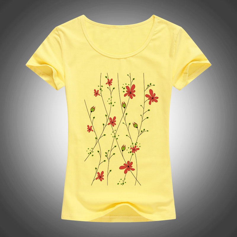 2016 קיץ סגנון כותנה סלים חולצת טריקו נשים קריקטורה פרח מודפס camisas femininas קצר חולצה חולצות אופנה צמרות 1904