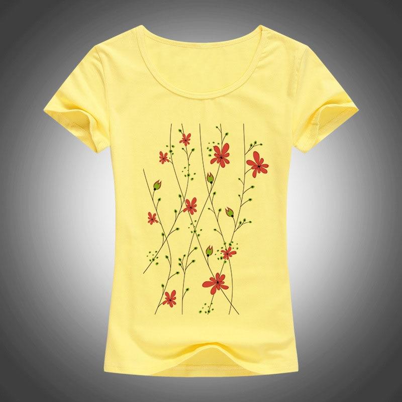 2016 musim panas gaya katun Slim T shirt wanita Kartun bunga dicetak camisas femininas Kemeja lengan pendek mode tops 1904