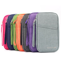 Multi Function Big Capacity Travel Wallet Passport Cover Documents Card Organiser Holder 7 Colors Portable Wrist
