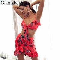 Glamaker Ruffle Flower Print Summer Dress Women Crop Two Piece Suit Beach Dress Female Short Bohemia