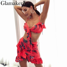 Glamaker рюшами с цветочным принтом летнее платье Для женщин укороченный два-Костюм из нескольких предметов пляжное платье женские короткие Богемия сексуальное платье vestido de festa