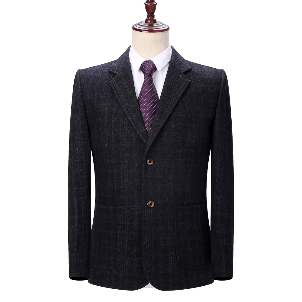 WAEOLSA Man Wool Blazer Plaid Jacket Suit Men Woollen Blends Garment Male Smart Casual Blazers Black Gray Jacket Suit Blazer 4XL in Blazers from Men 39 s Clothing