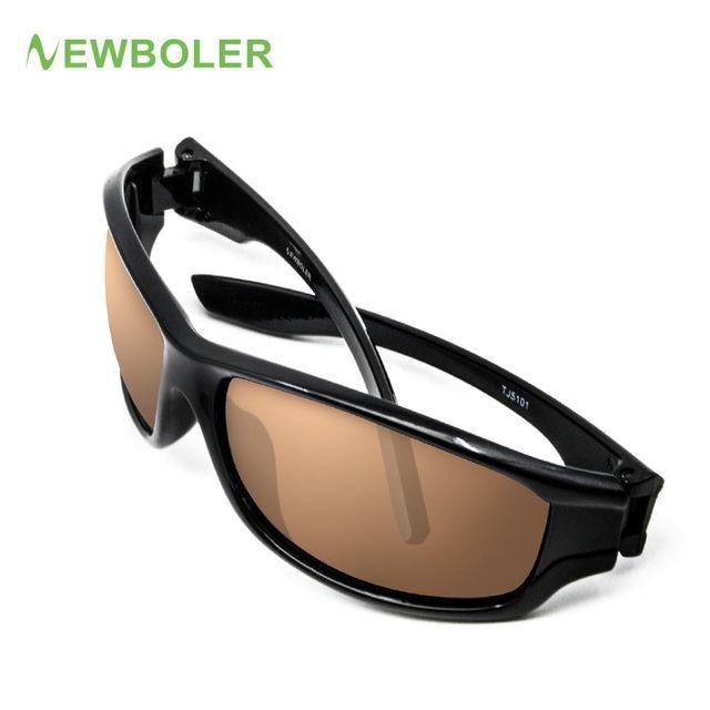 27c6225d3b484 NEWBOLER Polarizada Pesca Óculos De Sol Marrom Lentes Amarelas Noite Versão  Homens Esporte Ao Ar