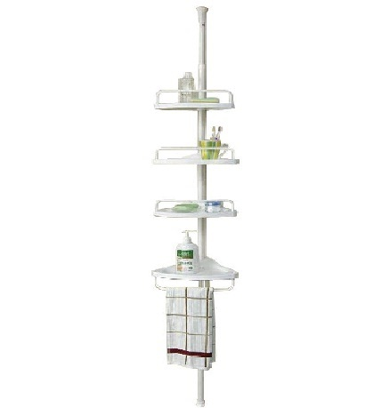 Adjustable Tension Shower Caddy,4 layer shower rack, powder coated steel, PVC, Poly resin