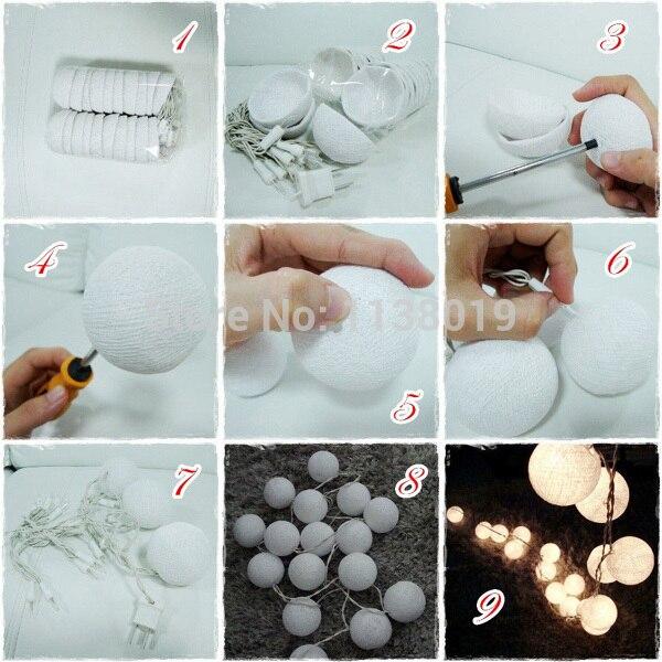 New design pure white cotton ball string lights  Fairy lightsWeddingpartyPatioxmas Decor AC plug power