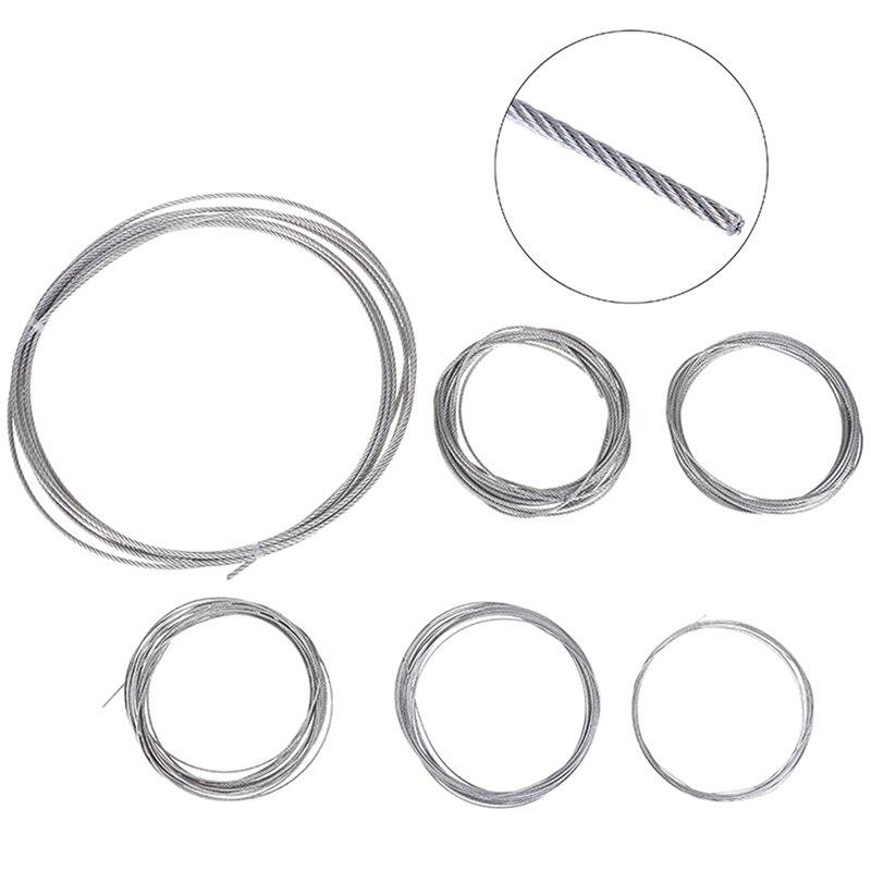 5m 304 acier inoxydable doux câble métallique souple pêche câble de levage corde à linge 7*7 Structure diamètre 0.5mm 1mm1. 2mm1. 5mm2mm3. 0mm