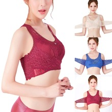 Women Sexy Vest Front Cross Side Buckle Sports Bra Wireless Lace Breathable Intimates Without Steel Ring Gathers