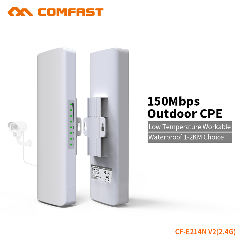 COMFAST 150Mbps Outdoor CPE 2.4G Wifi Bridge 3KM Built In Watchdog Chip Extender Receiver CPE48v POE WIFI Router 1 pair CF-E214N