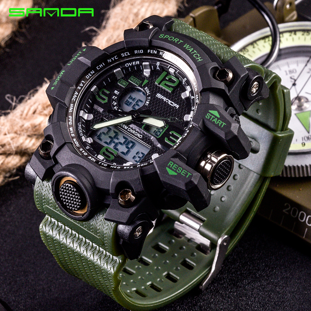 SANDA Military Sports Watches Men Watch Top Brand Luxury Date LED Digital Wrist watches Male Sport Clock Men montre homme
