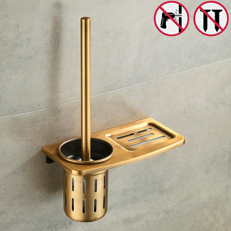 Nail Free Toilet Brush Holders Black And Antique Bathroom Shelves Toilet Bowl Brush Clean Bathroom Accessories antique brass artistic bathroom toilet brush holder