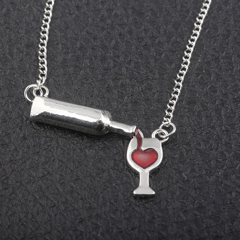 Party jewelry red Wine&Cup Love Wine Women Chain Charm Necklaces pendant Jewelry