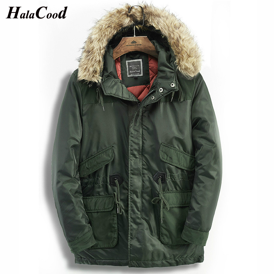 2018 Military Windbreaker Jacket Winter Men's Parkas Male Jackets Coats Warm Fake Fur Collar Hooded Army Green Long Coat Thick