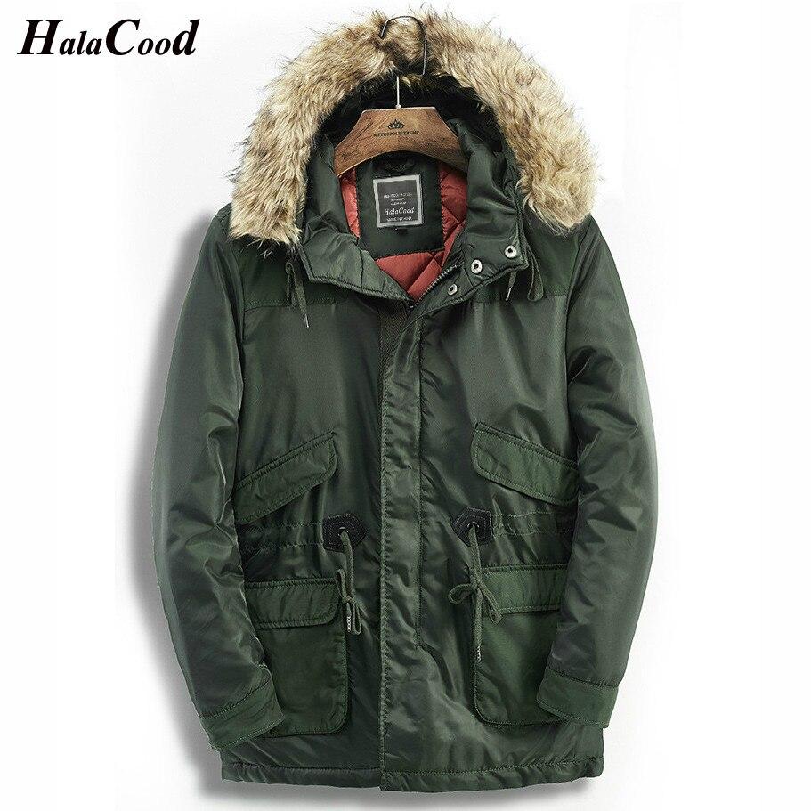 2018 militaire coupe-vent veste hiver hommes Parkas mâle vestes manteaux chaud fausse fourrure col à capuche armée vert Long manteau épais