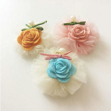 2017 Fashion Gauze Mesh Rose Flower Hair clips Girls Tiara Crown Hairpins Cute Princess Barrettes Kids Party hair ornaments J80
