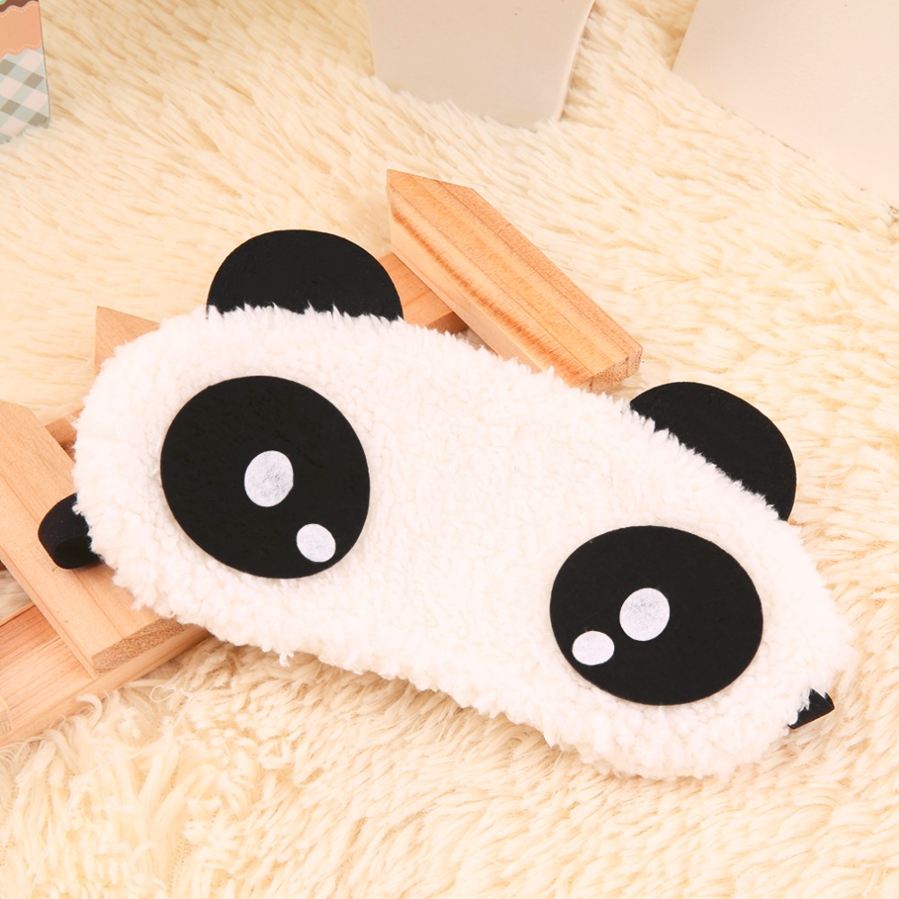 Cute Panda Sleeping Eye Mask Face Mask Blindfold Eyeshade 4 patterns Eyemask White Cotton + rubber band 2017 Hot Sale halloween natural rubber bald ghost mask red white