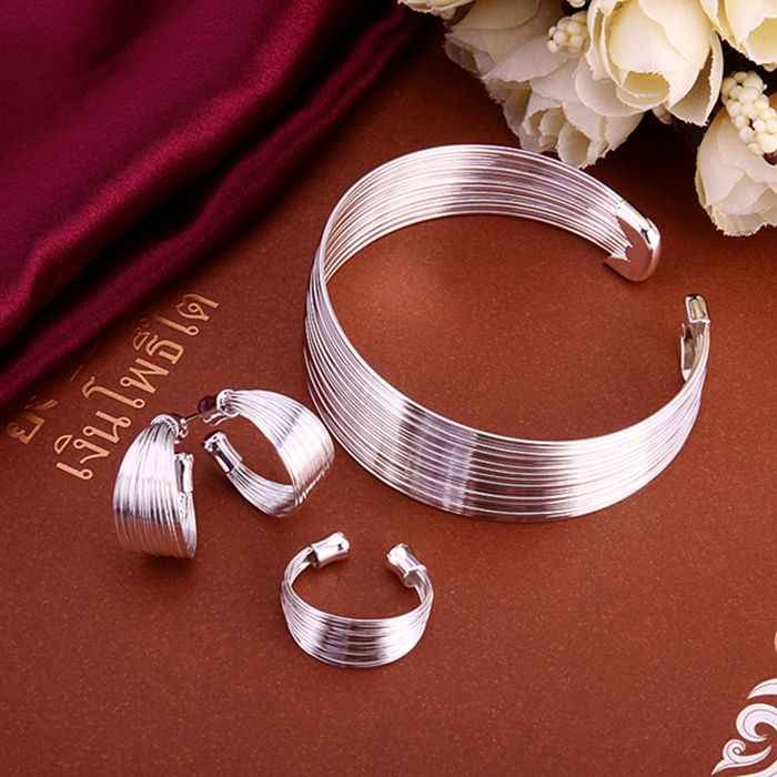 925 jewelry silver plated jewelry set, fashion jewelry set Multi-Stands Ring Earrings Bangle S312 /cppalgwa damalrta LKNSPCS312