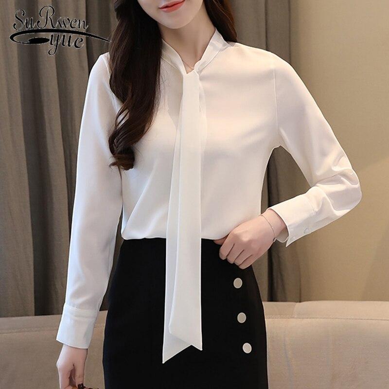 Las Coreano Estilo Moda Camisas 45 2019 blanco Ropa Temperamento De Gasa Blusa Manga Larga Pink Otoño La Lazo 1373 Negocios Mujeres 8wSfE0Xxq