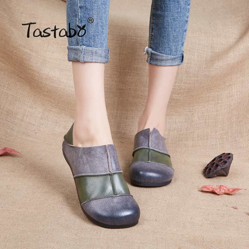 Tastabo Genuine Leather Shoes Fashion Loafers Women Shoes Handmade Soft Comfortable Flat Stitching Casual Shoes Women