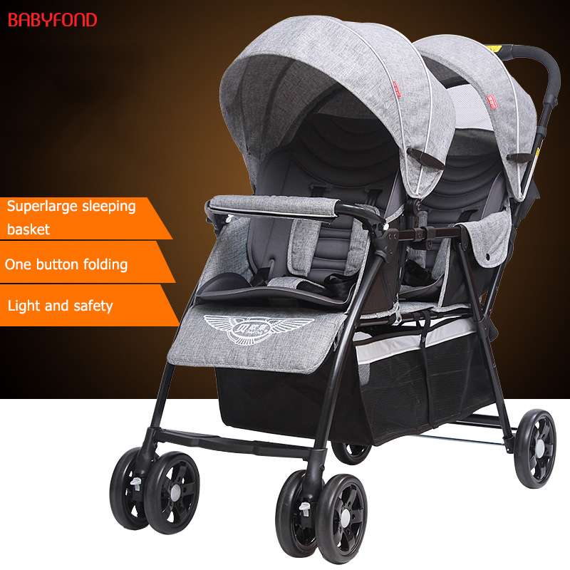 9.6kg umbrella Twins Baby Stroller Front And Rear Baby Carriage Light Two Carts Two Child Cart Lie Down