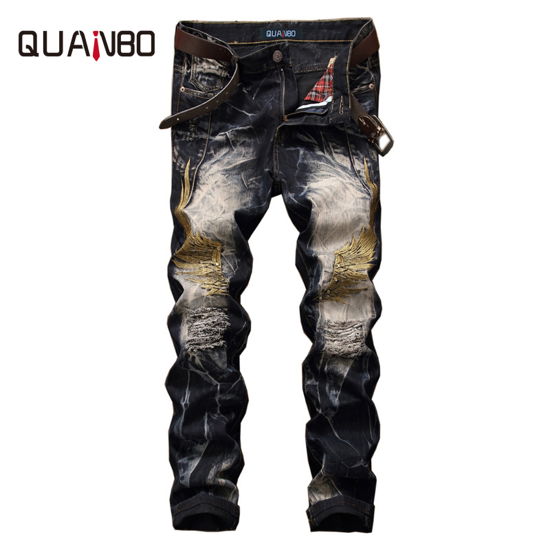 QUANBO 2019 New Summer Spring Fashion Brand Design Distressed Mens Jeans Hight Quality Hole Ripped Embroidery Denim Trousers 42